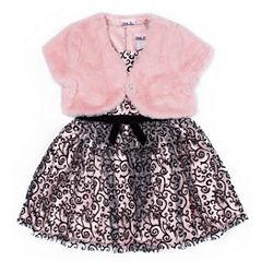 Little Lass Long Sleeve A-Line Dress - Baby Girls