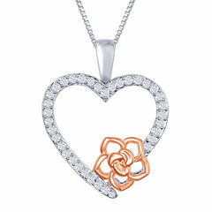 Enchanted by Disney 1/6 C.T. T.W. Diamond Sterling Silver And 14K Rose Gold Accent