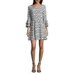 My Michelle 3/4 Sleeve Jacquard Fit & Flare Dress-Juniors