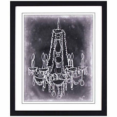 Decor Therapy Sketched Chandelier on Black in Black Frame