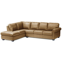 Leather Possibilities Roll Arm 2 Pc Left Corner Sectional