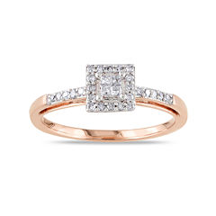 1/5 CT. T.W. Diamond 10K Rose Gold Quad Princess Bridal Ring