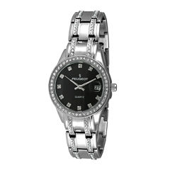 Peugeot® Womens Crystal-Accent Silver-Tone Bracelet Watch 7097S