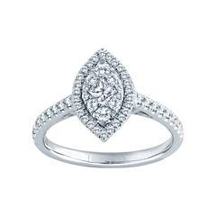 5/8 CT. T.W. Diamond 14K White Gold Marquise Ring