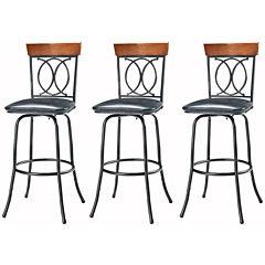 O/X-Back Set of 3 Adjustable Barstools