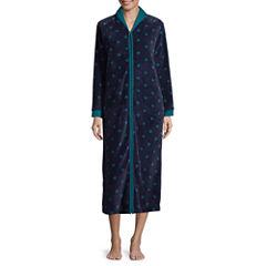Comfort and Co. Coral Fleece Zip Print Plush Robe