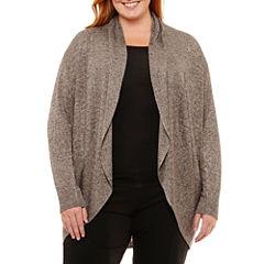 Worthington Long Sleeve Cardigan-Plus