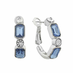 Monet Blue And Silvertone Hoop Earring