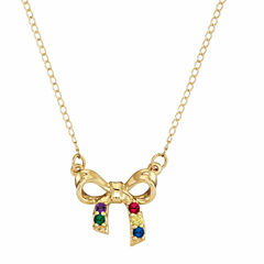 Personalized Genuine Birthstone Bow Pendant Necklace