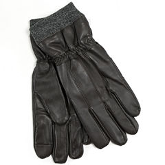 Collection by Michael Strahan Leather Knit Cuff Gloves