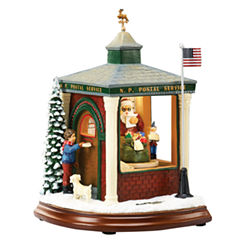 Roman Musical LED Post Office Figurine