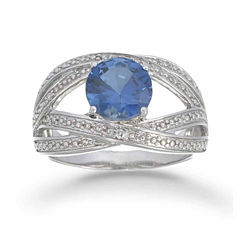Womens 1/5 CT. T.W. Simulated Blue Sapphire Sterling Silver Bypass Ring