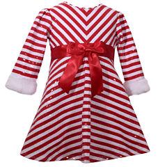 Bonnie Jean Long Sleeve A-Line Dress - Baby Girls