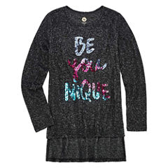 Total Girl Long Sleeve Brushed Sequin Tunic Top - Girls' 7-16 & Plus