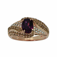 Womens Lab Created Purple Crystal Gold Over Silver Cocktail Ring