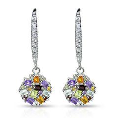 Multi Color Topaz Sterling Silver Drop Earrings