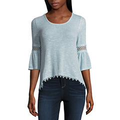 Wallflower Elbow Sleeve Scoop Neck Knit Blouse-Juniors