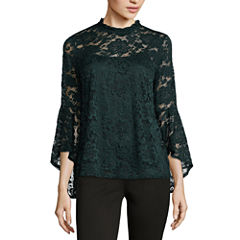 by&by Long Sleeve Mock Neck Lace Blouse-Juniors