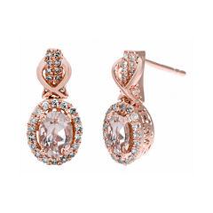 1/4 CT. T.W. Diamond and Genuine Morganite 10K Rose Gold Drop Earrings