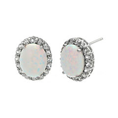 Lab-Created Opal and Genuine White Topaz Sterling Silver Stud Earrings