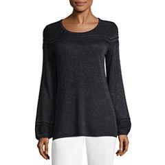 Liz Claiborne Long Sleeve Scoop Neck Lurex Pullover Sweater
