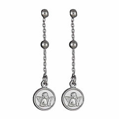 Made in Italy Sterling Silver Rhodium Angel Dangling Earring