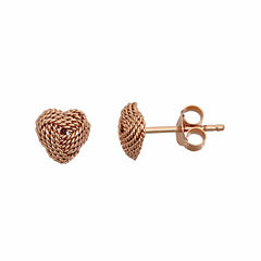 Rose Tone Sterling Silver Rope Heart Love Stud Earring