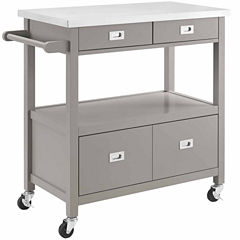 Linon Sydney Stainless Steel-Top Kitchen Cart
