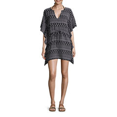 Porto Cruz Pattern Crepe Swimsuit Cover-Up Dress