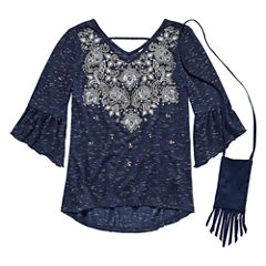 Beautees Bell Sleeve Embroidered Top w Purse - Girls' 7-16