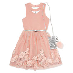 Speechless Short Sleeve Cold Shoulder Sleeve Skater Dress - Big Kid Girls