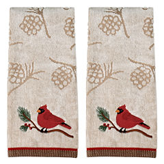Saturday Knight Cardinal Holiday 2-pc. Embroidered Hand Towel