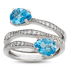 Genuine Blue Topaz & Lab Created White Sapphire Sterling Silver Ring