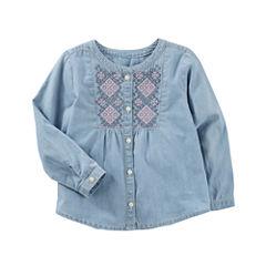 Oshkosh Short Sleeve Button-Front Shirt Girls