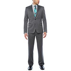JF J. Ferrar Dark Grey Birdseye Texture Suit Separates-Super Slim