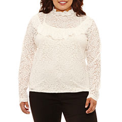 Arizona High Neck Lace Top- Juniors Plus