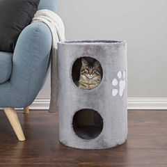 Petmaker Cat Condo 2 Story Double Hole with Scratching Surface in Gray