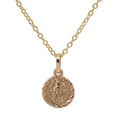 14K Gold Our Lady of Guadalupe Pendant Necklace