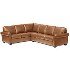 Leather Possibilities Roll-Arm 2pc. Left-Arm Corner Sofa Sectional