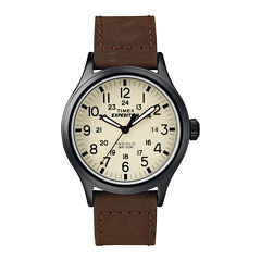 Timex® Expedition® Field Metal Elevated Mens Brown Leather Strap Watch T499639J