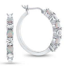 Lab Created Opal And White Sapphire Sterling Silver Hoop Earrings