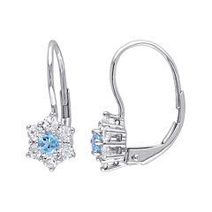 Genuine Blue Topaz and White Sapphire 10K White Gold Earrings