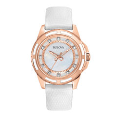 Bulova® Womens Gold-Tone Mother-Of-Pearl Watch 98P119