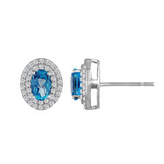 Oval Blue Topaz Sterling Silver Stud Earrings