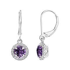 Purple Amethyst Sterling Silver Drop Earrings