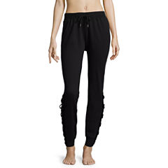 Flirtitude Lace Up Fleece Jogger Pants-Juniors