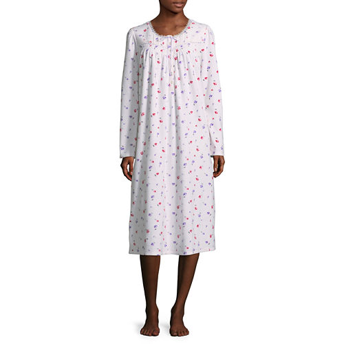 Adonna Microfleece Long Sleeve Nightgown - Petites