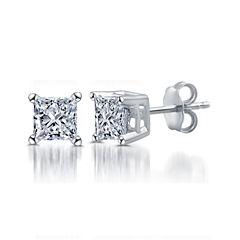 Deluxe 1 CT. T.W. Princess White Diamond 14K Gold Stud Earrings