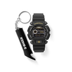 Casio With Flashlight Key Chain Mens Black Watch Boxed Set-Dw9052-1cfl