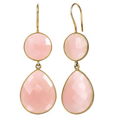 Pink Quartz 14K Gold Over Silver Drop Earrings